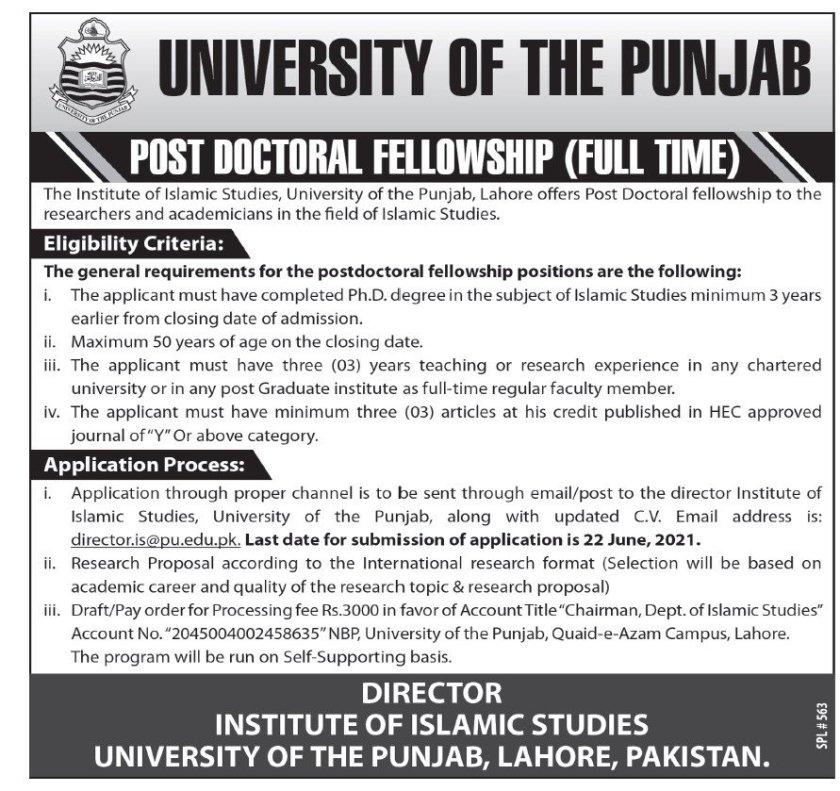 University of Punjab PU Lahore Jobs 2021
