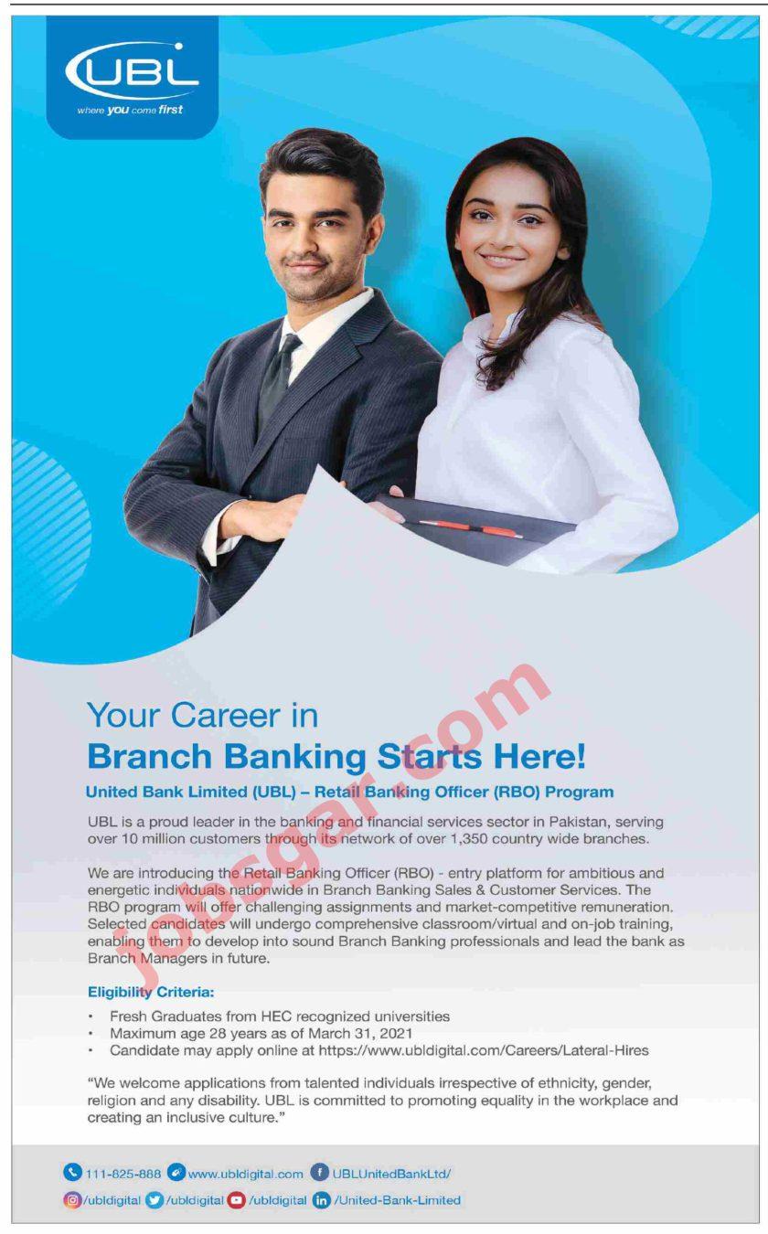 United Bank Limited UBL Jobs 2021