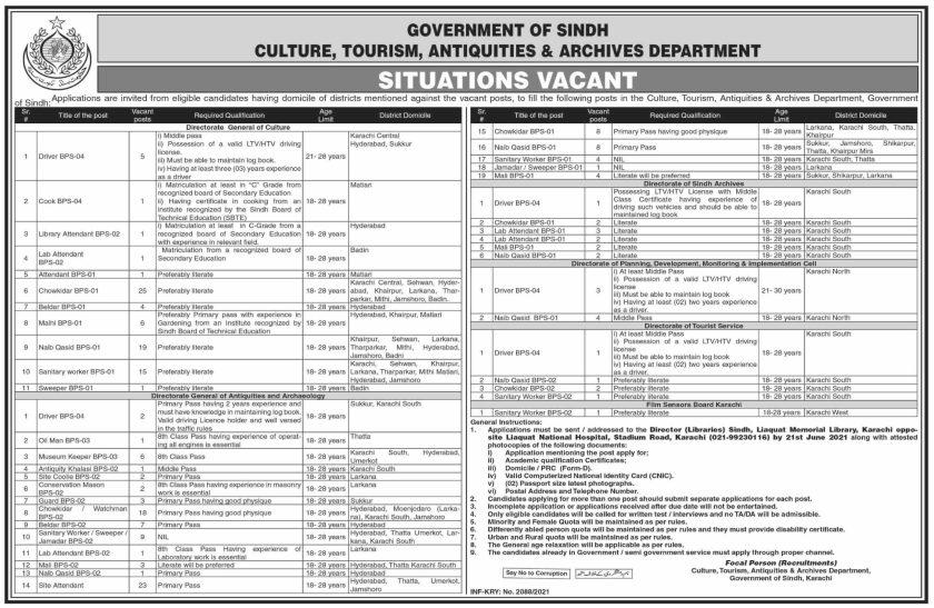 Culture Tourism Antiquities & Archives Department Sindh Jobs 2021