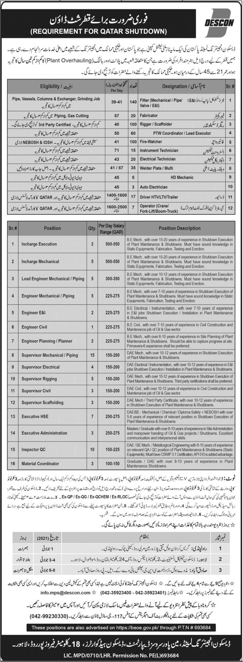 DESCON Engineering Limited DESCON Jobs 2021