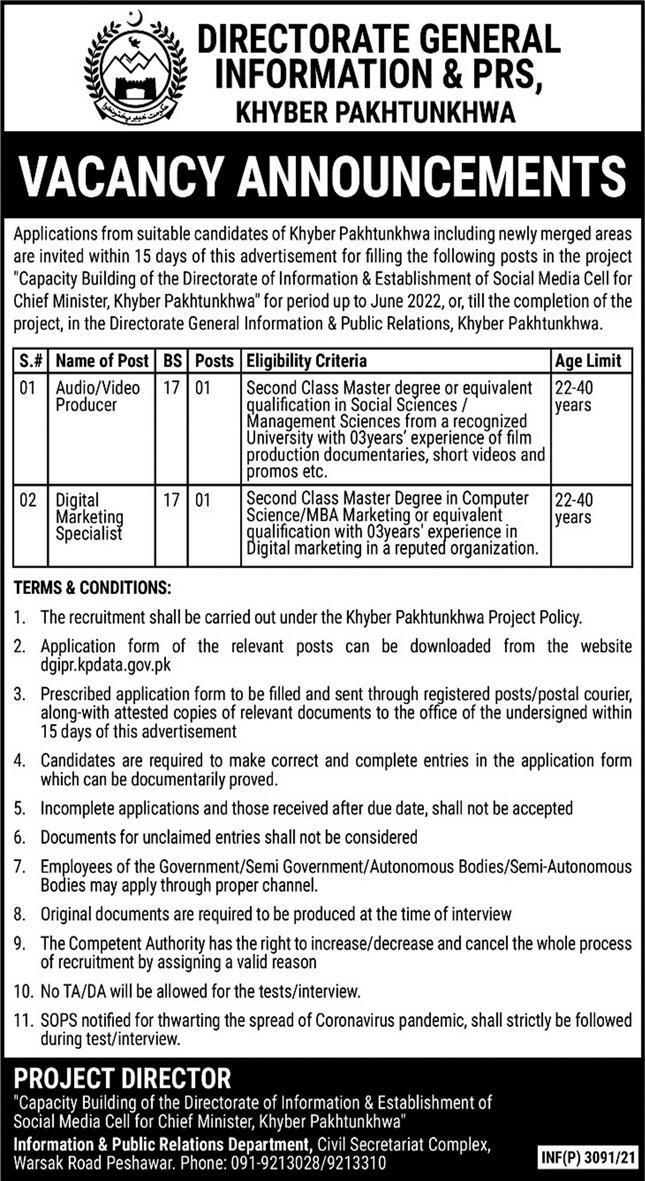 Information & Public Relations Department KPK Jobs 2021