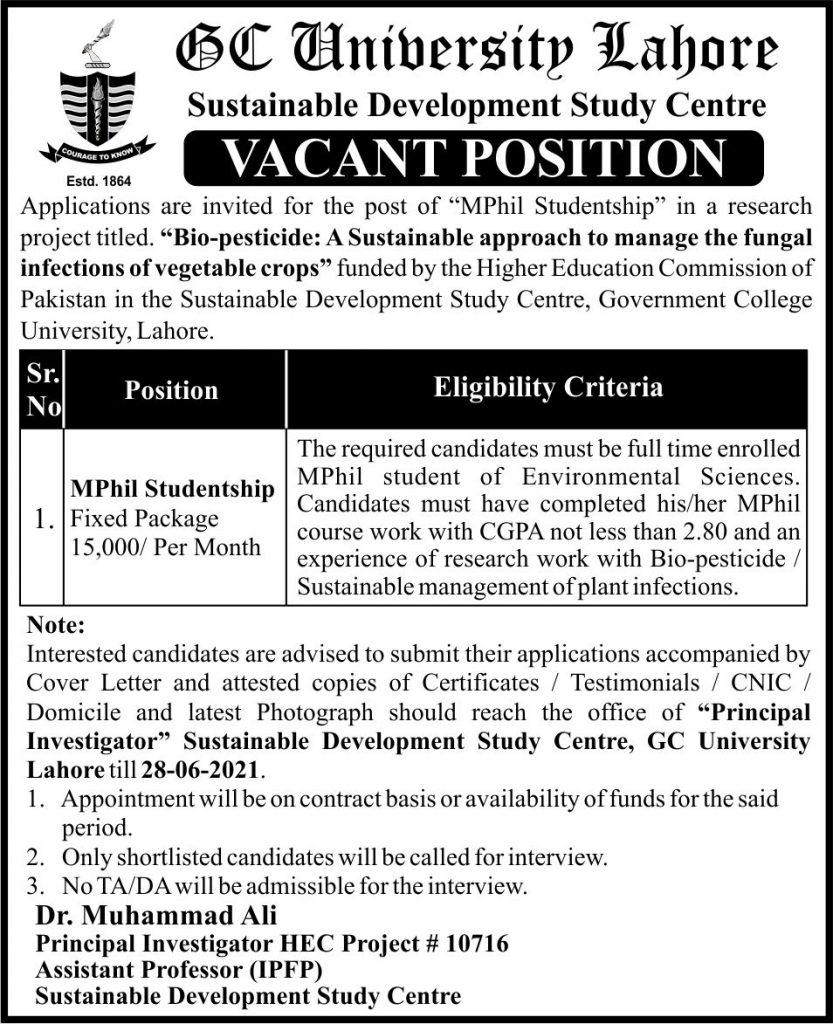 GC University Jobs 2021 in Lahore Pakistan