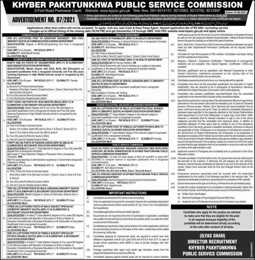 KPPSC Jobs for Head Master