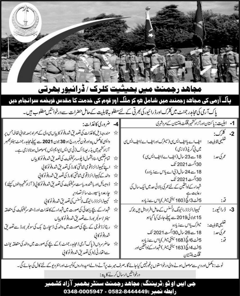 Mujahid Force Jobs 2021 as Constable Clerk & Driver