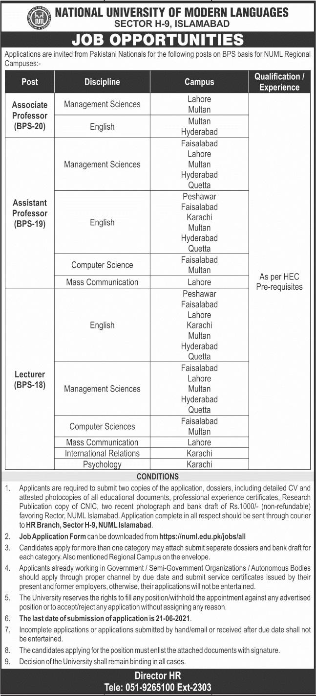 NUML Jobs June 2021