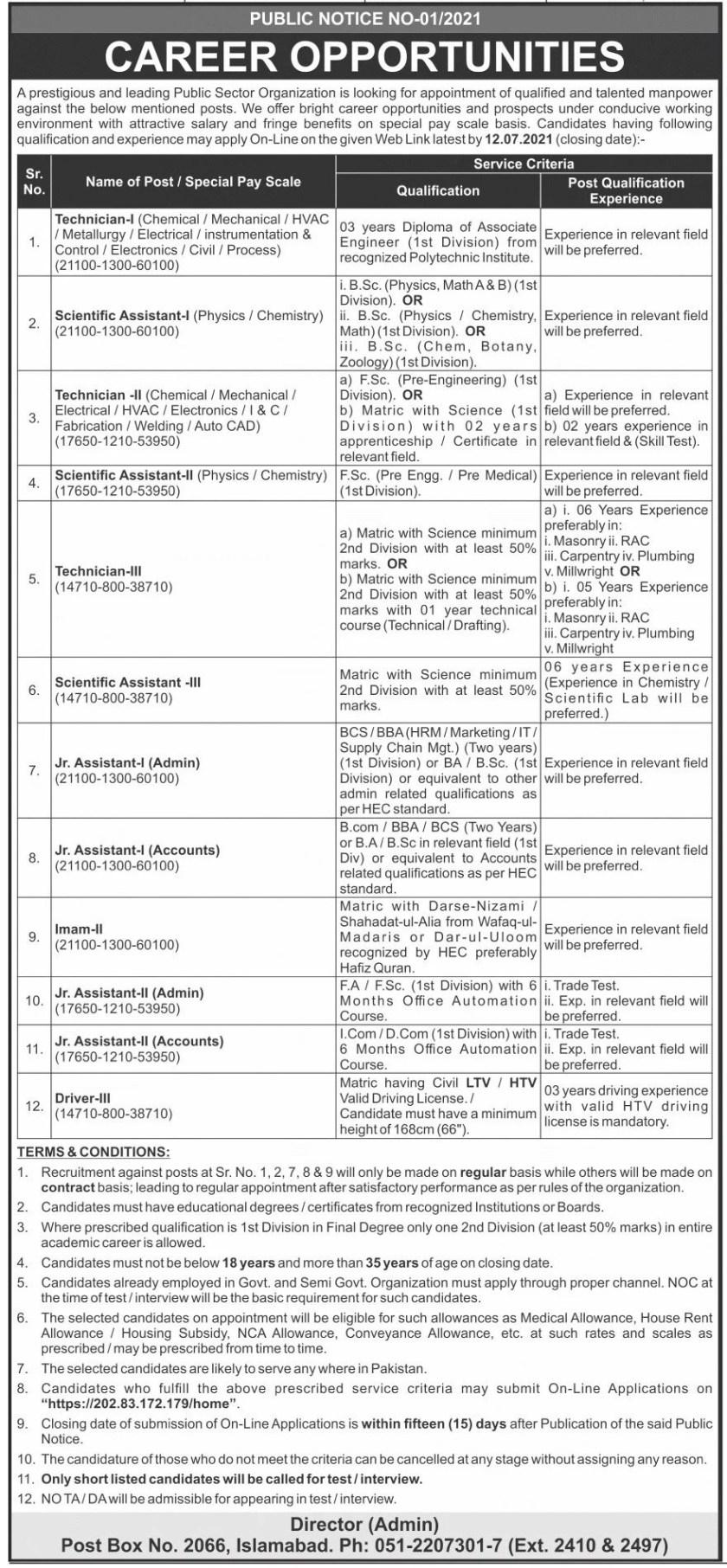 Public Sector Organization PO Box 2066 Islamabad Jobs 2021