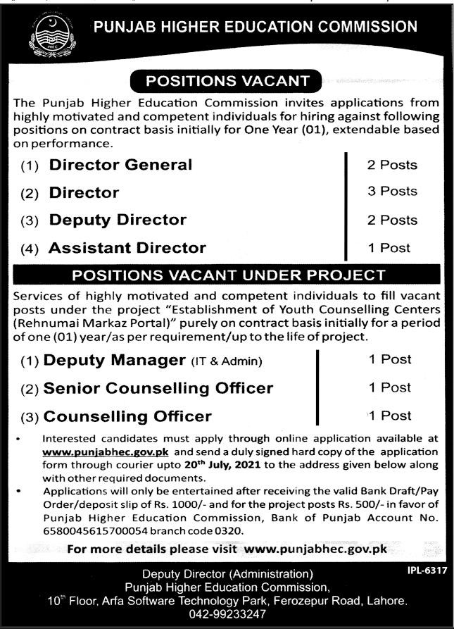 Punjab Higher Education Commission PHEC Jobs 2021
