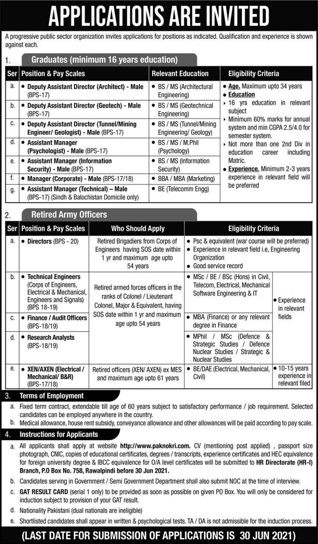 Progressive Public Sector Organization PO Box 758 Rawalpindi Jobs 2021