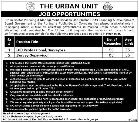 The Urban Unit Peshawar Jobs 2021