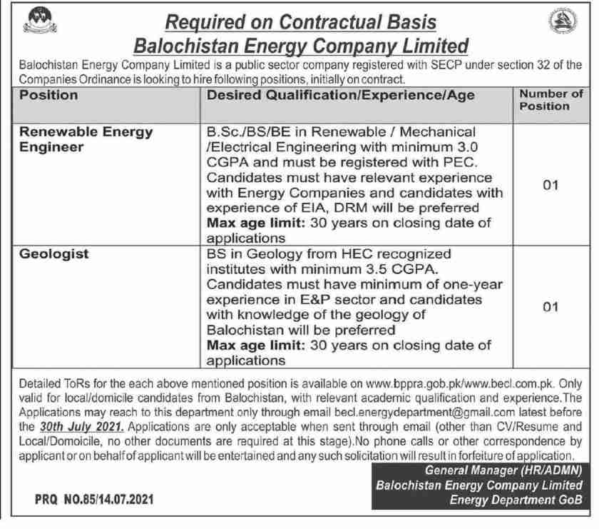 Balochistan Energy Company Limited BECL Jobs 2021