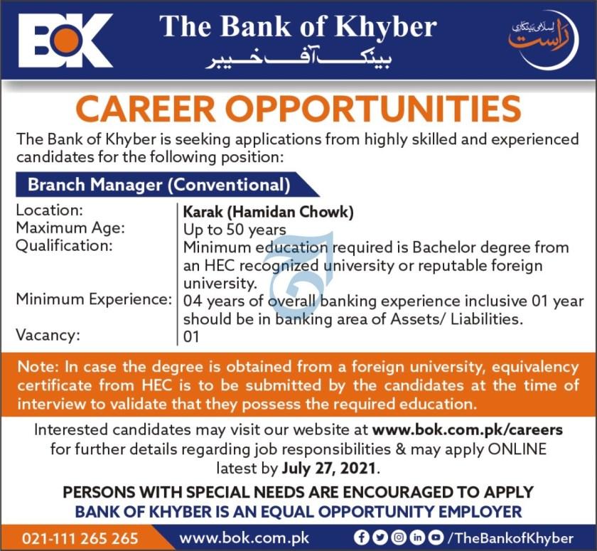 BOK Jobs 2021 the Bank of Khyber Pakistan