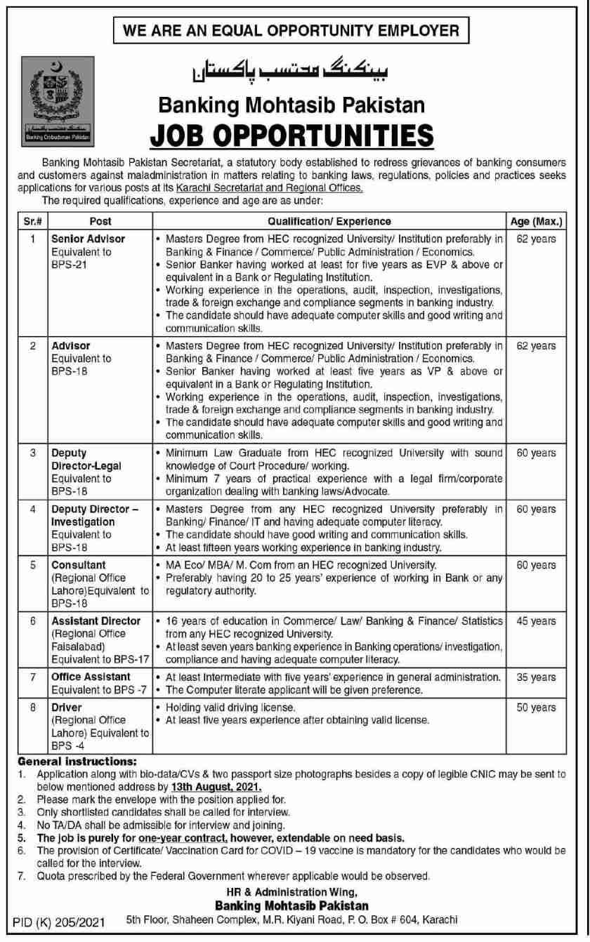 Banking Mohtasib Pakistan Jobs