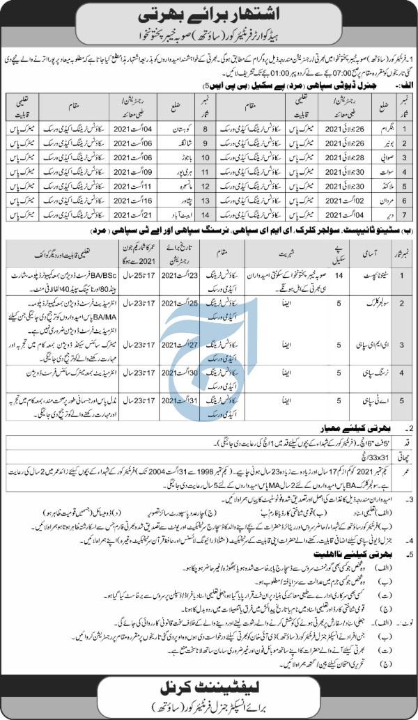 Frontier Corps KPK Jobs 2021 in Peshawar