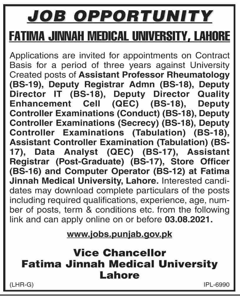 Fatima Jinnah Medical University FJMU Jobs 2021