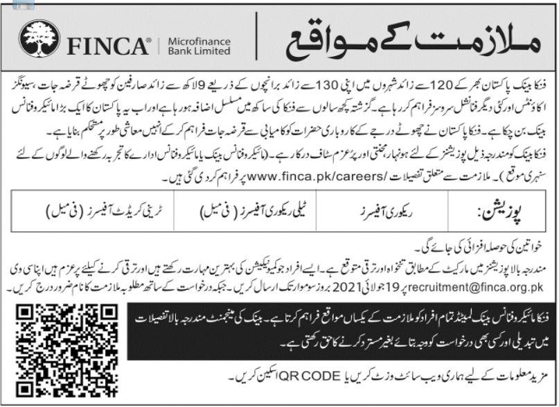 FINCA Microfinance Bank Limited FINCA Bank Jobs 2021