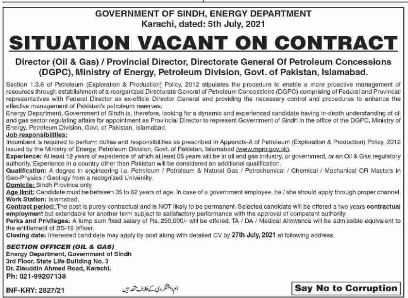 Sindh Energy Department Jobs 2021