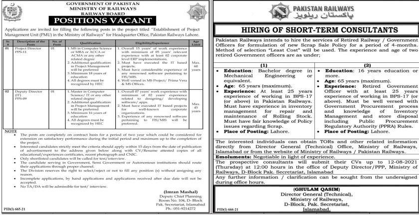 Ministry of Railways Pakistan Railways Jobs 2021