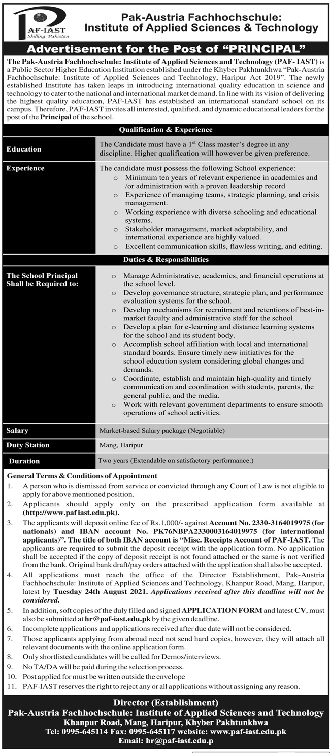 Pak Austria Fachhochschule Institute of Applied Sciences & Technology Khyber Pakhtunkhwa PAF IAST Jobs 2021
