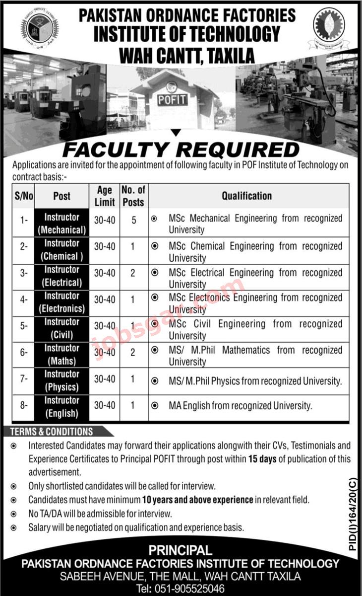Pakistan Ordnance Factories POF Jobs 2021