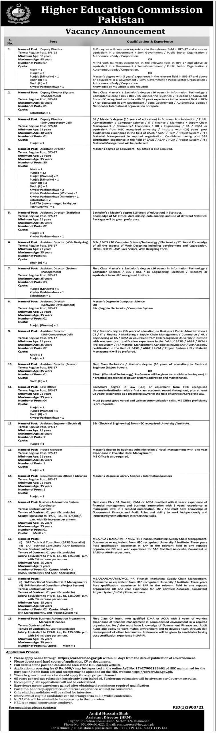 Higher Education Commission Pakistan HEC Jobs 2021
