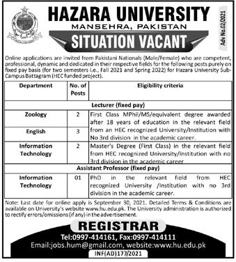 Hazara University HU Jobs 2021