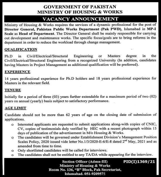 Ministry of Housing and Works Islamabad MOHW Jobs 2021
