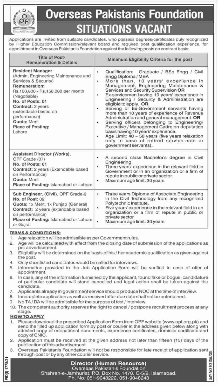 Overseas Pakistanis Foundation OPF Jobs 2021