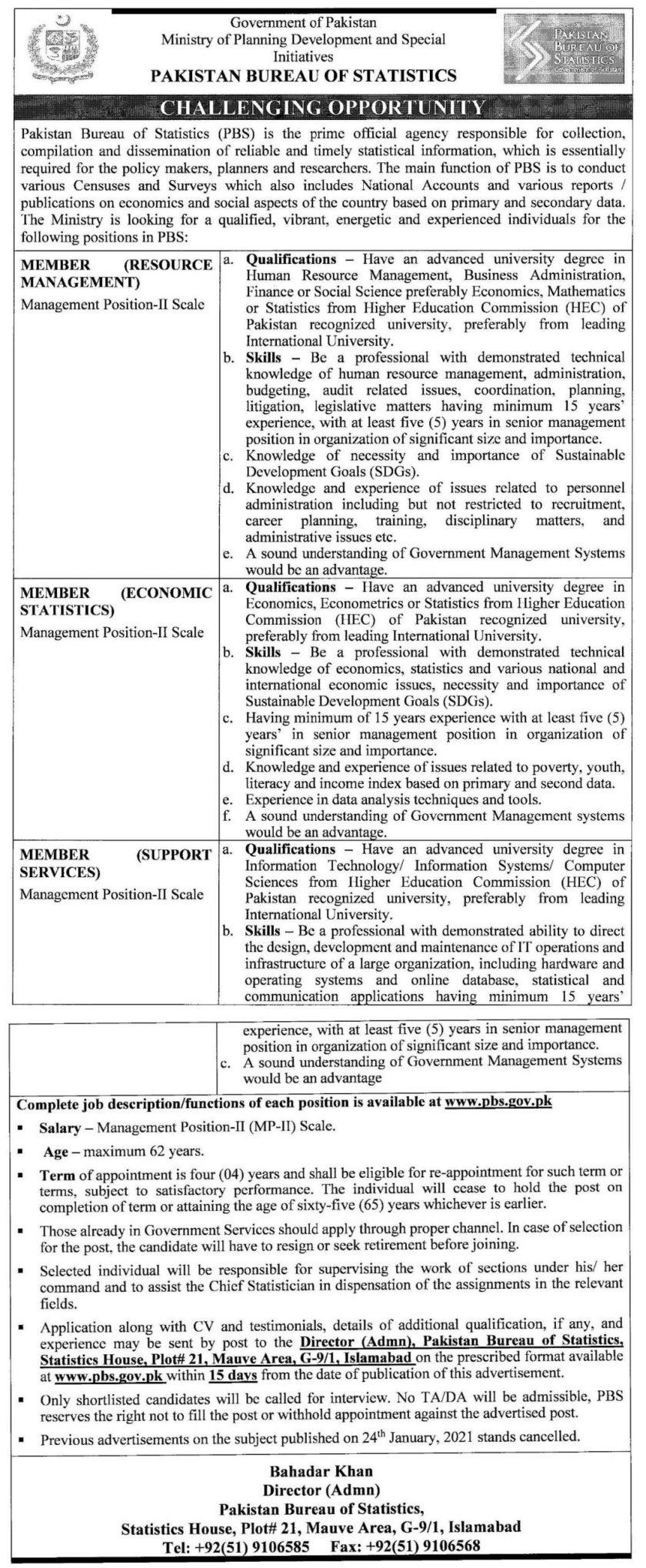 Pakistan Bureau of Statistics PBS Islamabad Jobs 2021