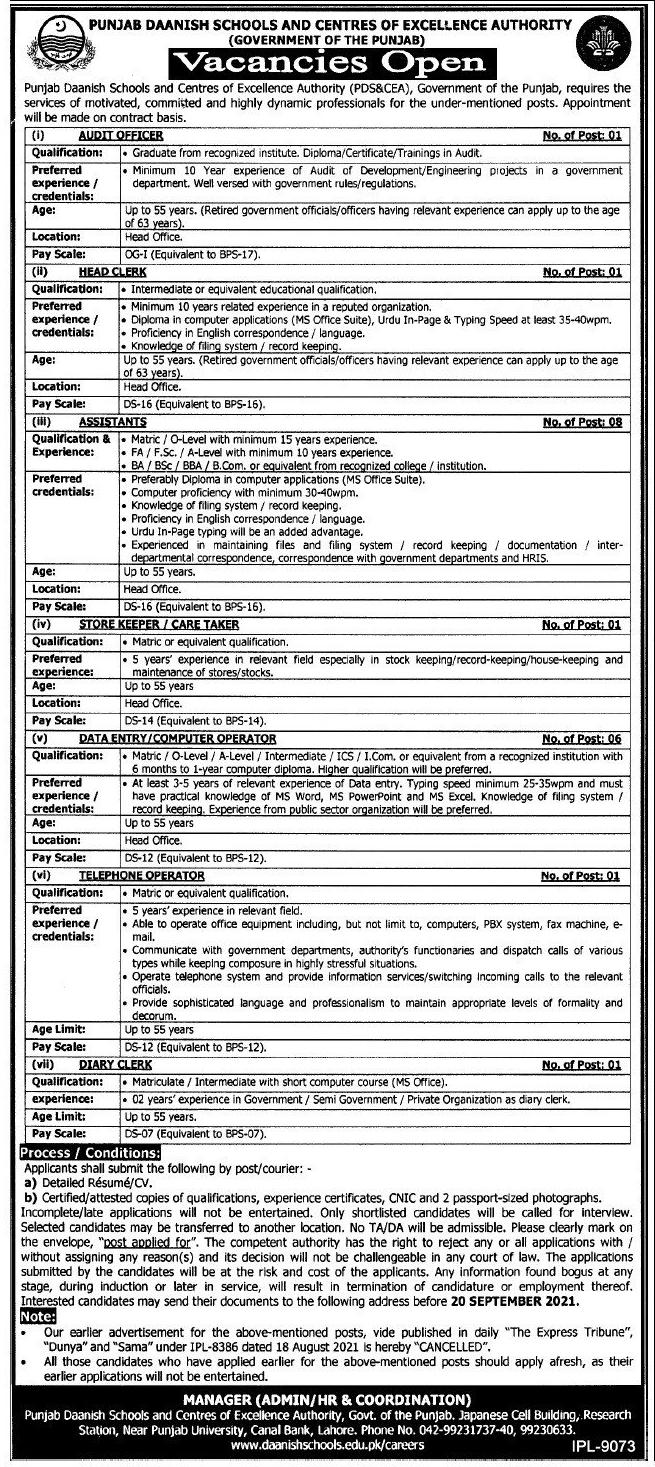 Daanish School Jobs 2021 Latest Advertisement