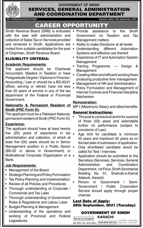 Board of Revenue Sindh Jobs 2021 Advertisement