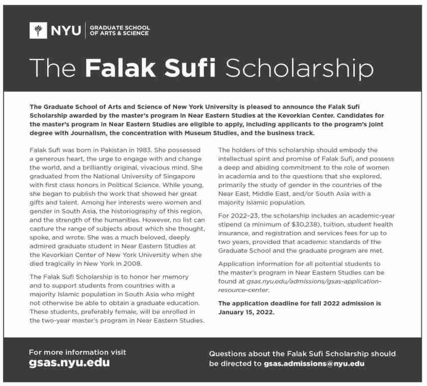 The Falak Sufi Scholarship New York University