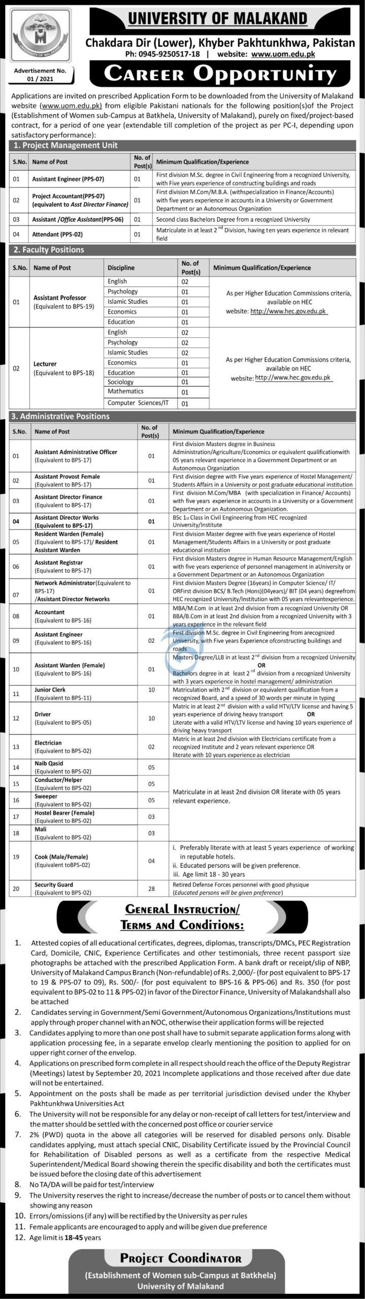 University of Malakand Jobs 2021 Advertisement