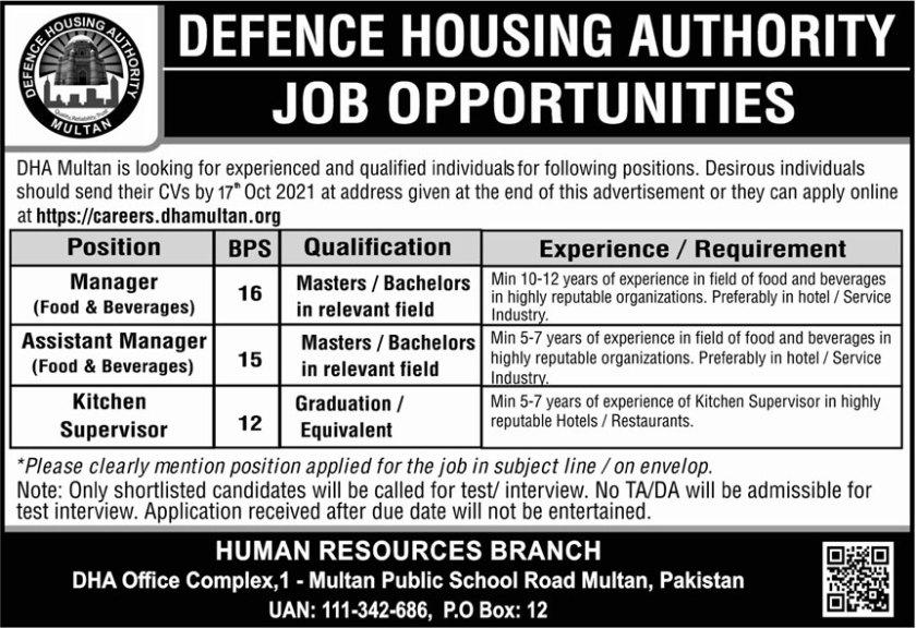 Defence Housing Authority DHA Multan Jobs 2021