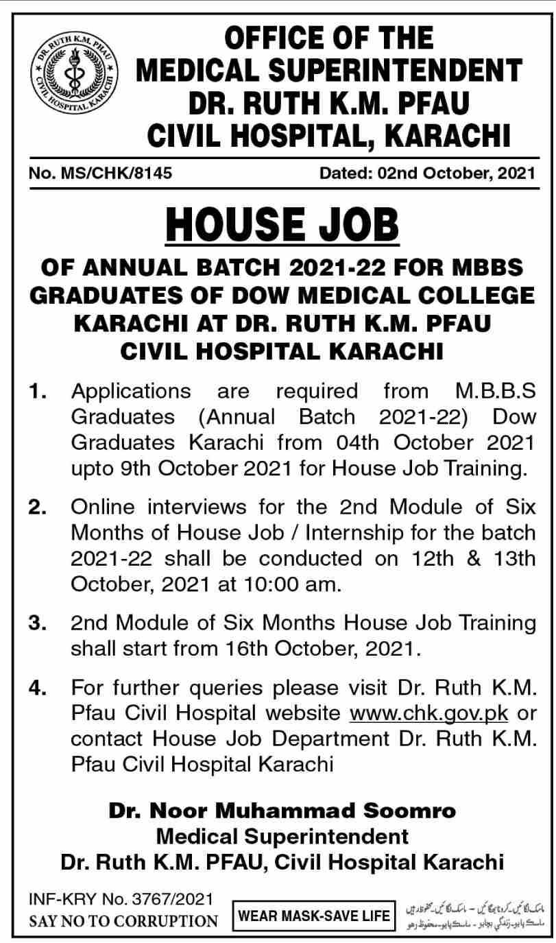 Dr Ruth Pfau Civil Hospital Karachi Jobs 2021