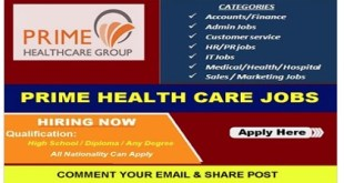 MULTIPLE JOB VACANCIES AT PRIME HEALTH CARE