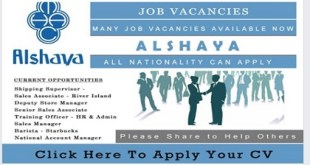 LATEST JOB VACANCIES @ ALSHAYA | ALL NATIONS 2019