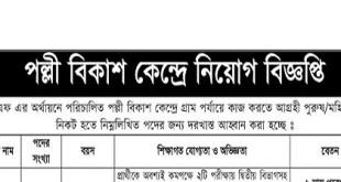 Palli Bikash Kendra published a Job Circular.