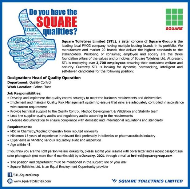 Job Circular at Square Pharmaceuticals