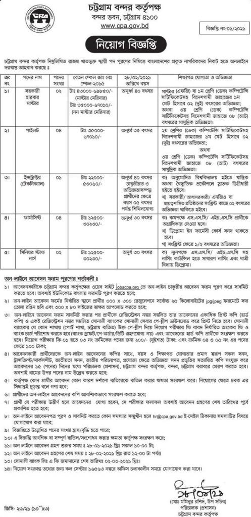 Chittagong Port Government Job Circular