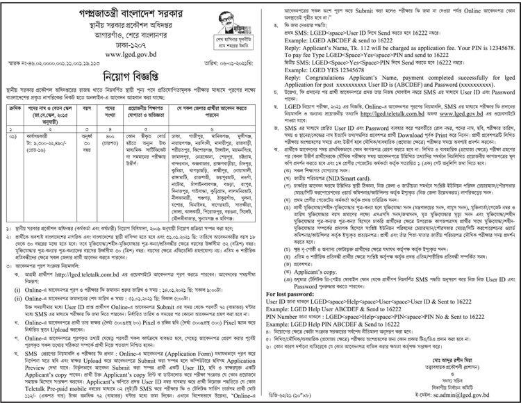 Govt Job Circular Department of Engineering