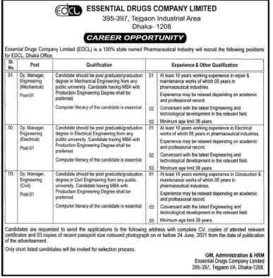 Essential Drugs Company Job Circular 2021