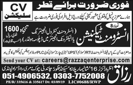 Qatar Instrument Technician Jobs Advertisement in Urdu