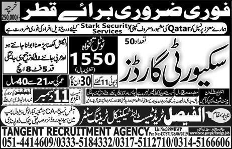 Qatar Star Security Services Jobs Advertisement