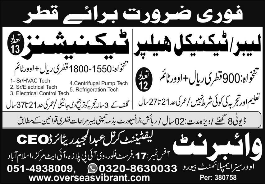 Qatar Technicians and Technician Helper Jobs Advertisement
