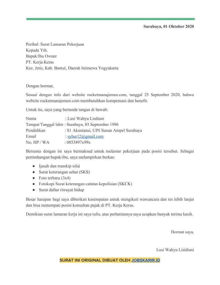 contoh cover letter 31 kompensasi dan benefit
