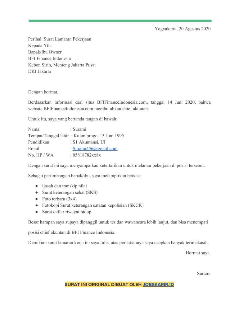 contoh cover letter 40 Chief akuntan