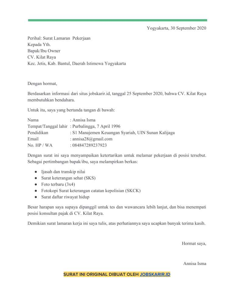 contoh cover letter 47 Bendahara