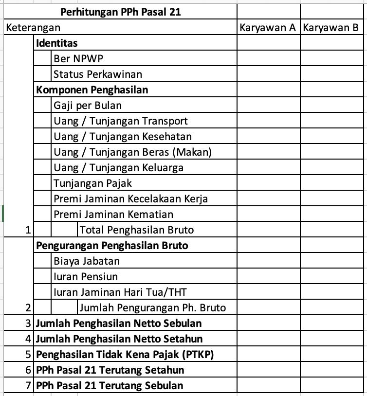 membuat form pajak pph 21 excel