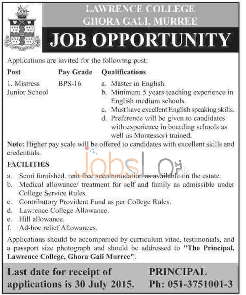 Lawrence College Ghora Gali Murree Jobs July 2015