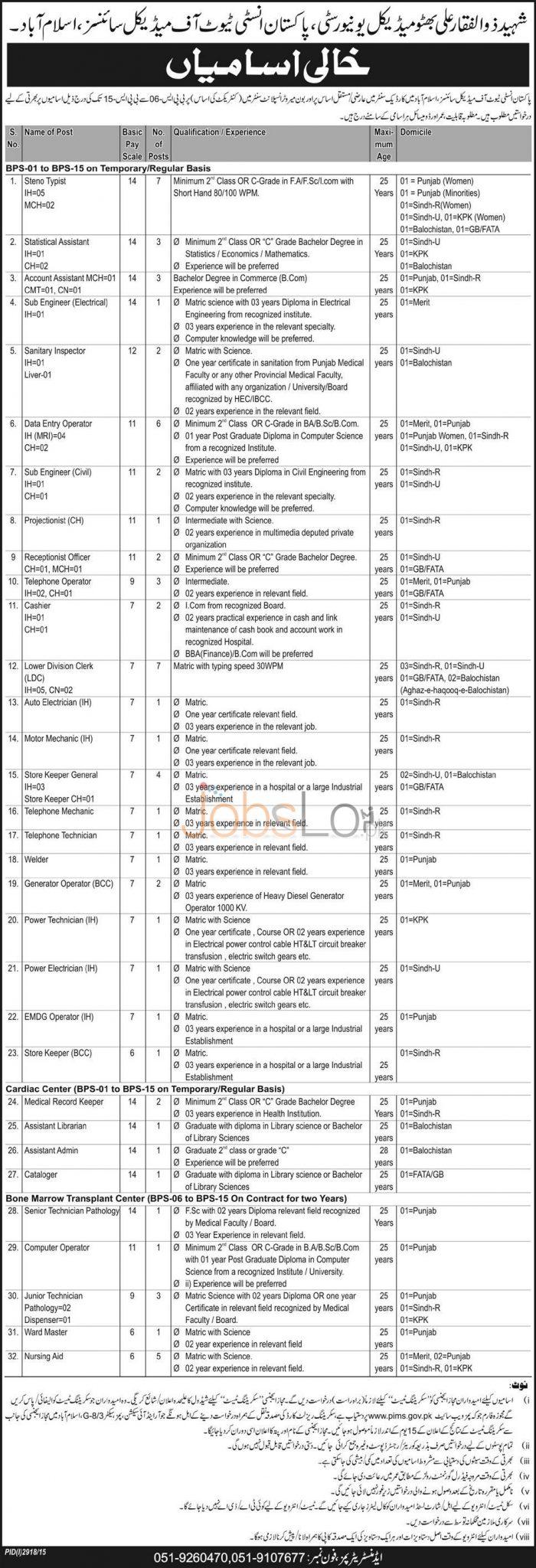 www.pims.gov.pk Jobs 10 December 2015 Download Application